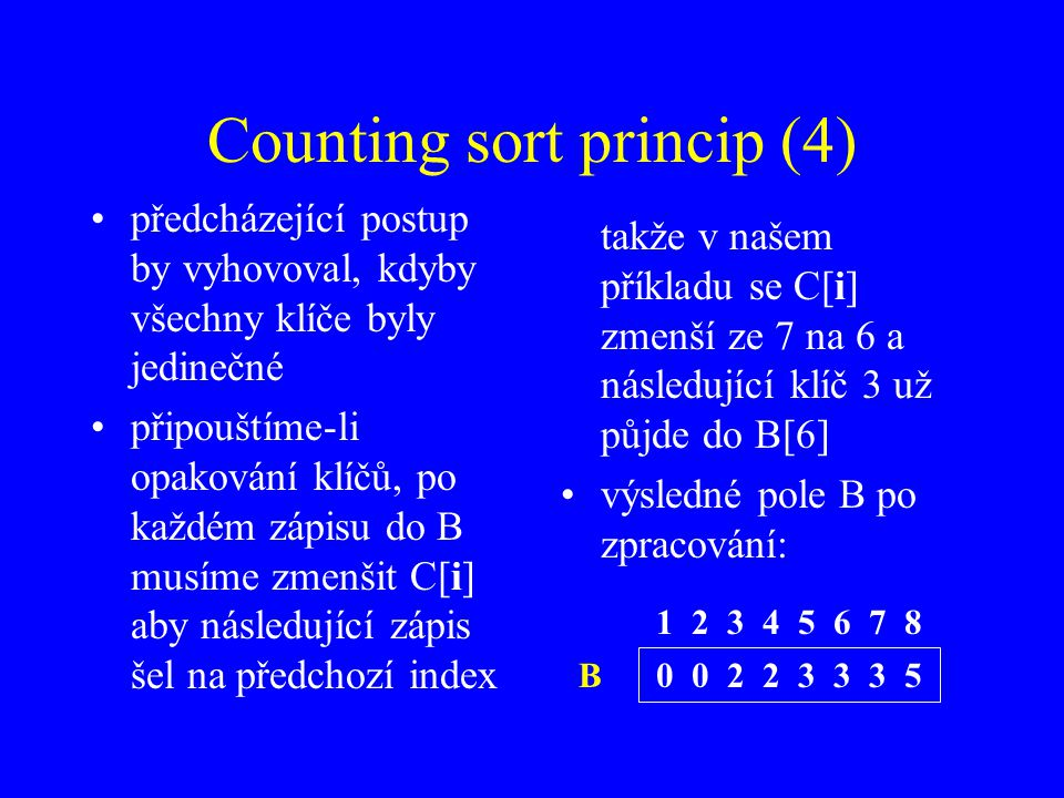 Counting sort princip (4)