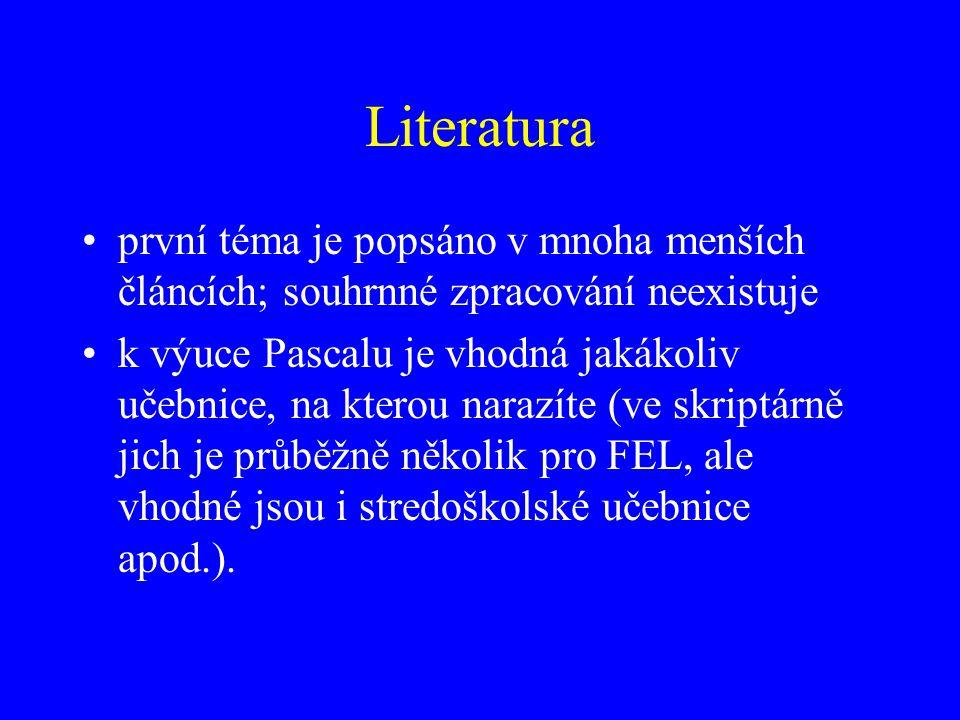 Literatura první téma je popsáno v mnoha menších článcích; souhrnné zpracování neexistuje.