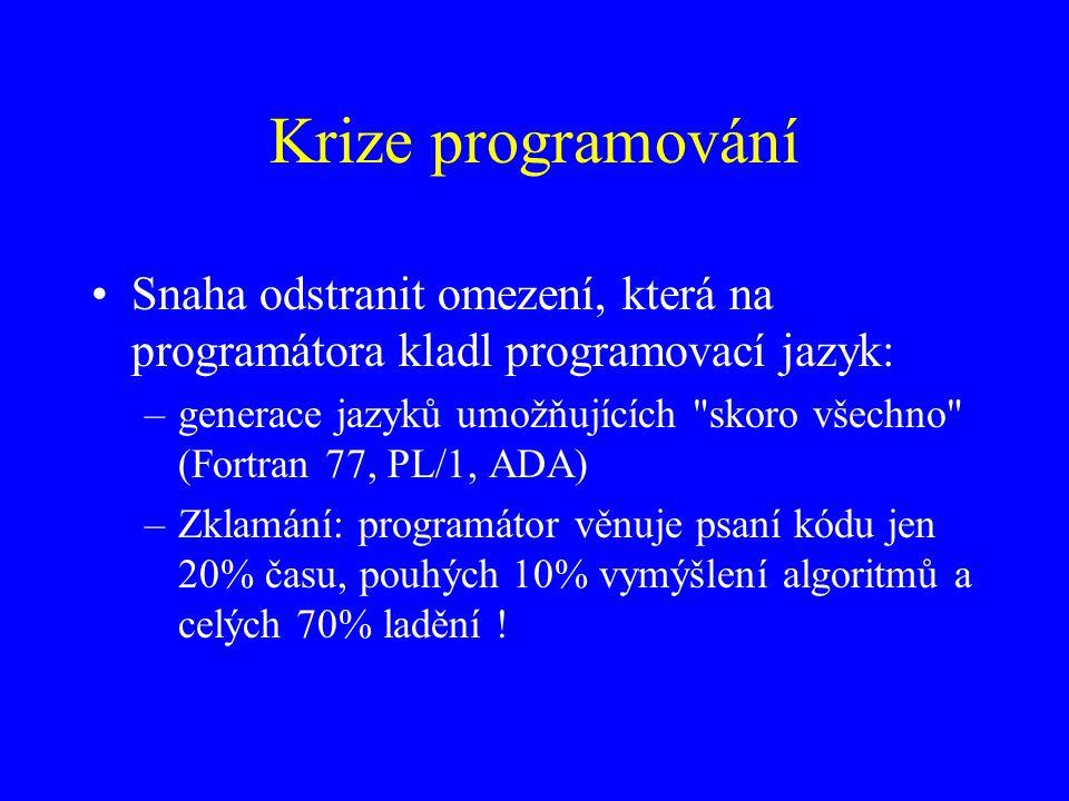 Krize programování Snaha odstranit omezení, která na programátora kladl programovací jazyk: