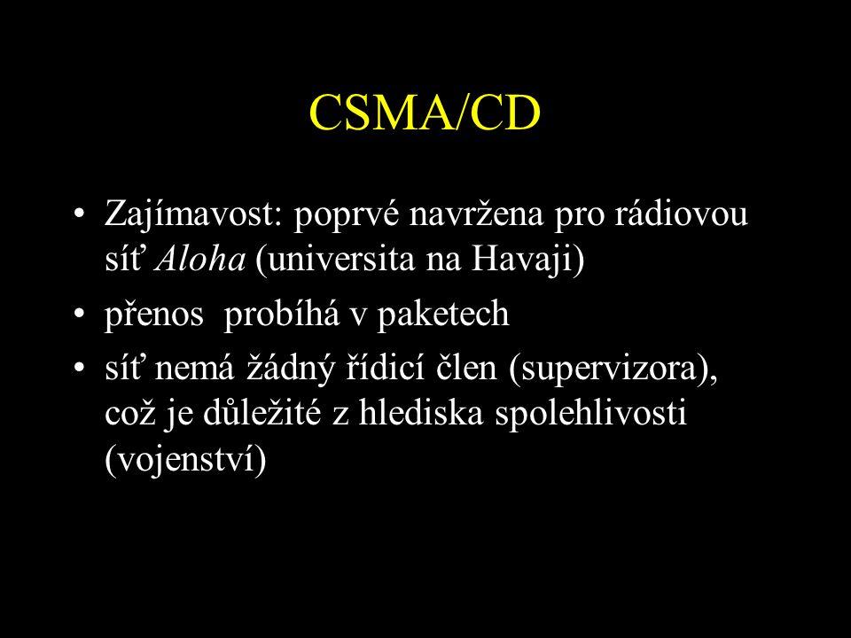 CSMA/CD Zajímavost: poprvé navržena pro rádiovou síť Aloha (universita na Havaji) přenos probíhá v paketech.