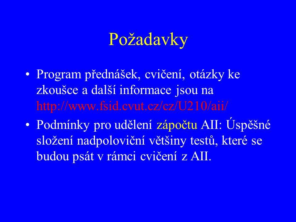 Požadavky Program přednášek, cvičení, otázky ke zkoušce a další informace jsou na http://www.fsid.cvut.cz/cz/U210/aii/