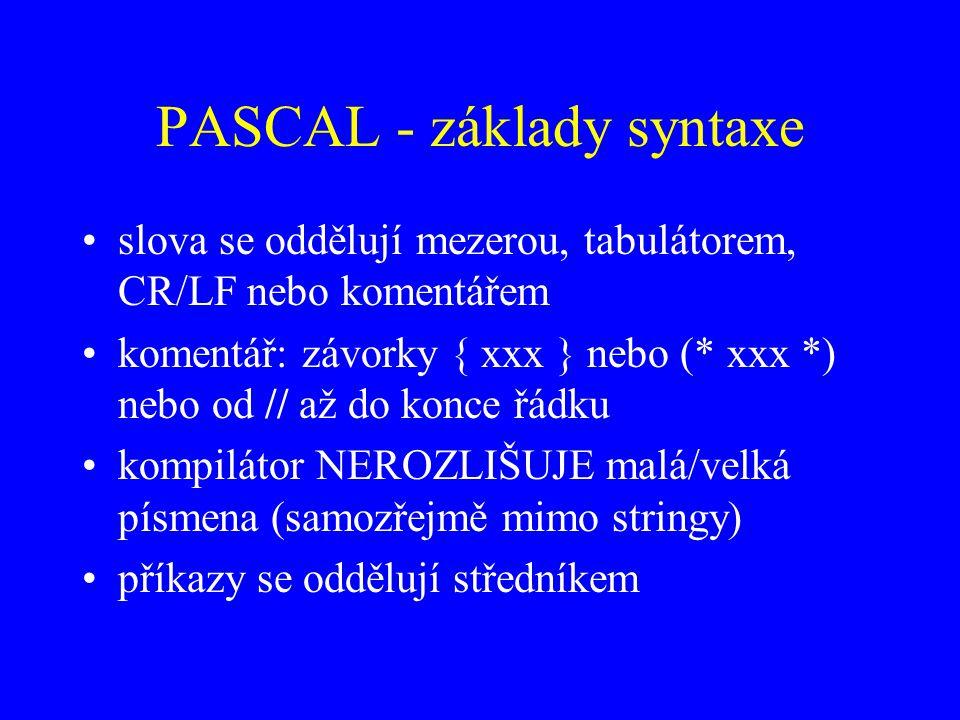 PASCAL - základy syntaxe