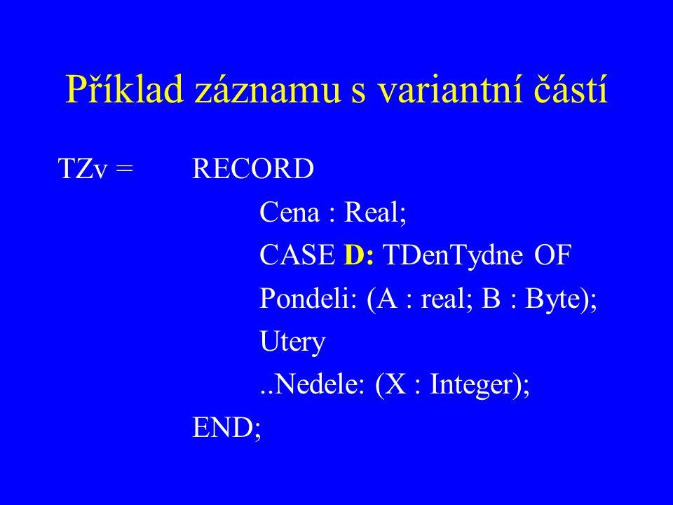 Příklad záznamu s variantní částí