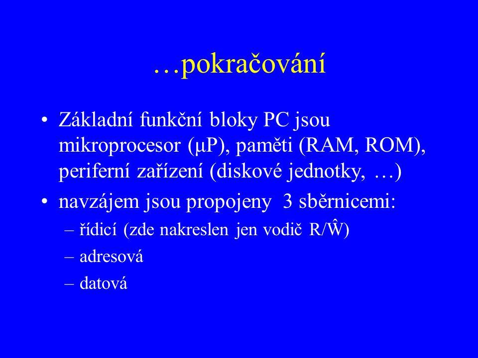 …pokračování Základní funkční bloky PC jsou mikroprocesor (μP), paměti (RAM, ROM), periferní zařízení (diskové jednotky, …)