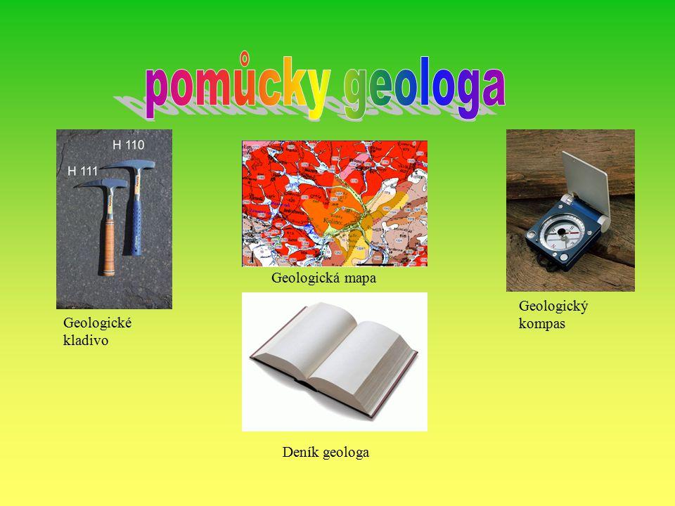 pomůcky geologa Geologická mapa Geologický kompas Geologické kladivo