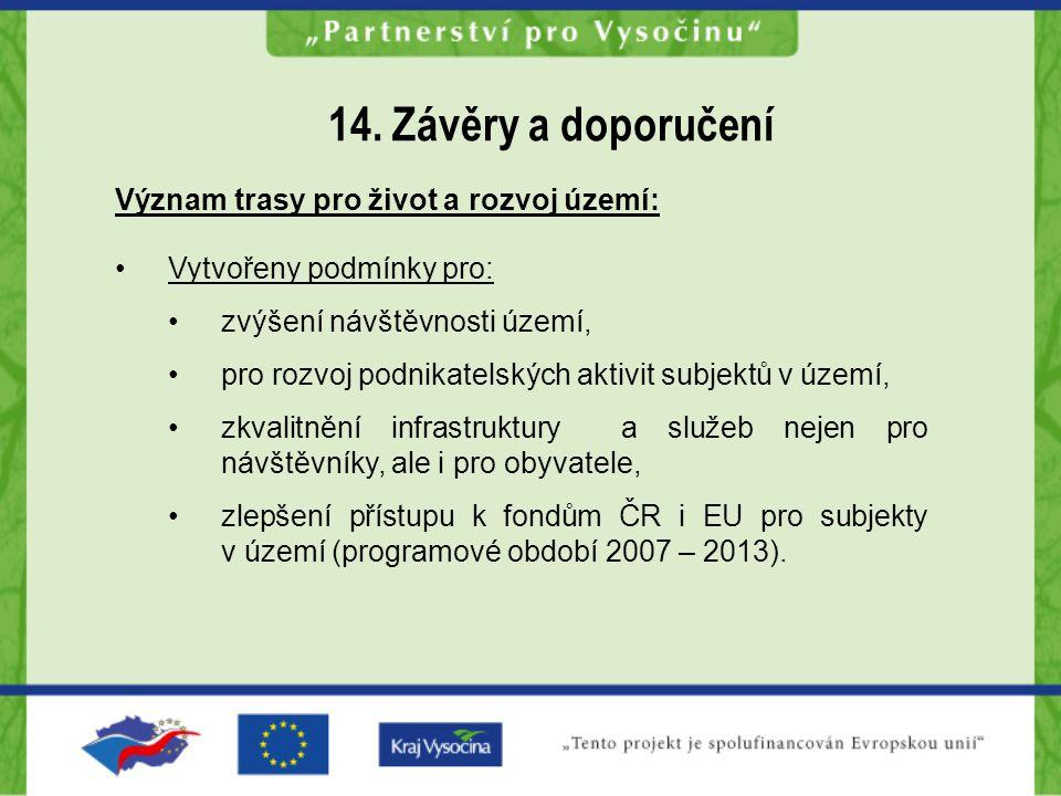 14. Závěry a doporučení Význam trasy pro život a rozvoj území: