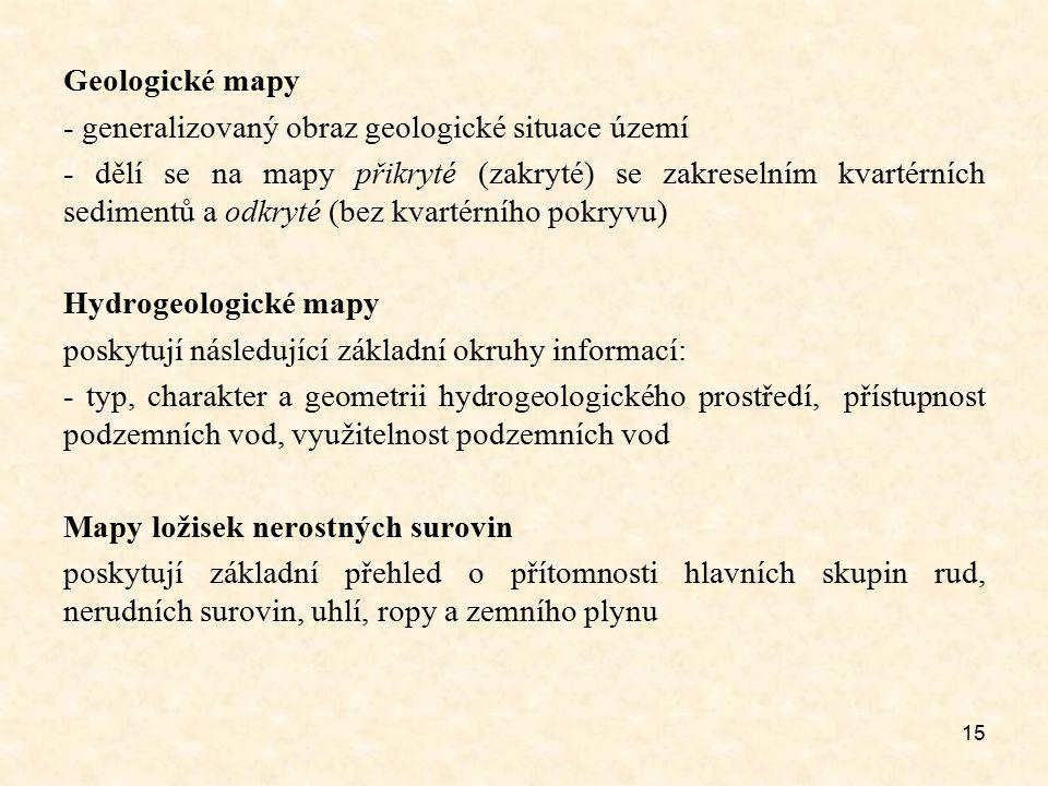 Geologické mapy - generalizovaný obraz geologické situace území.