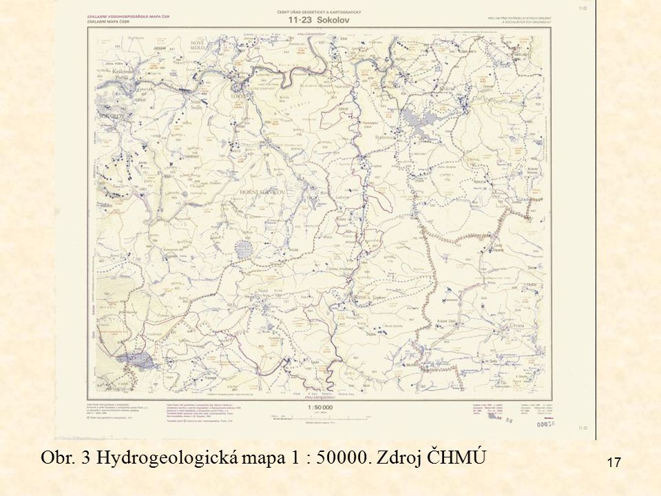 Obr. 3 Hydrogeologická mapa 1 : 50000. Zdroj ČHMÚ