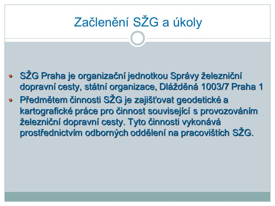 Začlenění SŽG a úkoly SŽG Praha je organizační jednotkou Správy železniční dopravní cesty, státní organizace, Dlážděná 1003/7 Praha 1.