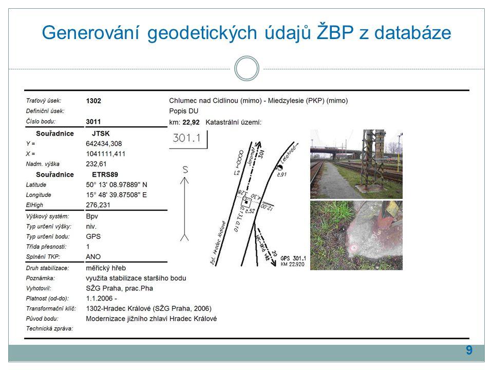 Generování geodetických údajů ŽBP z databáze