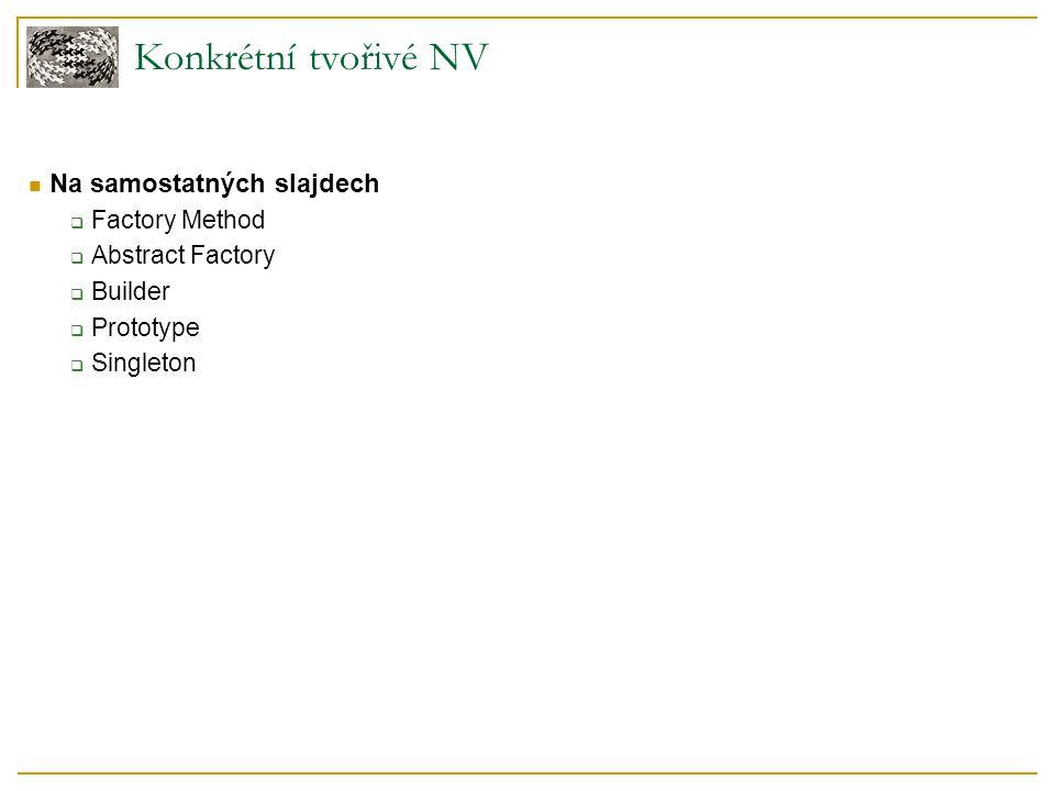 Konkrétní tvořivé NV Na samostatných slajdech Factory Method