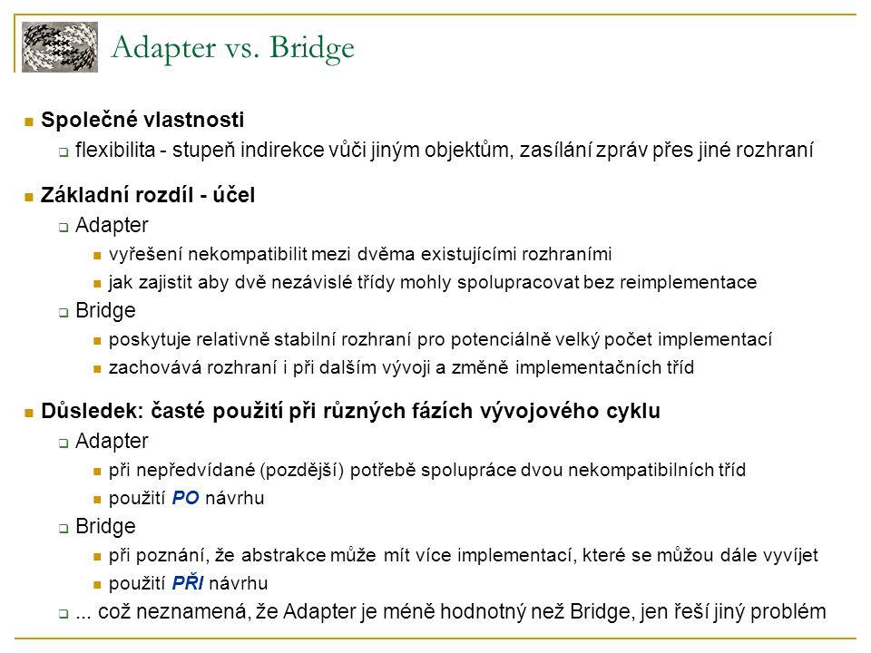 Adapter vs. Bridge Společné vlastnosti Základní rozdíl - účel