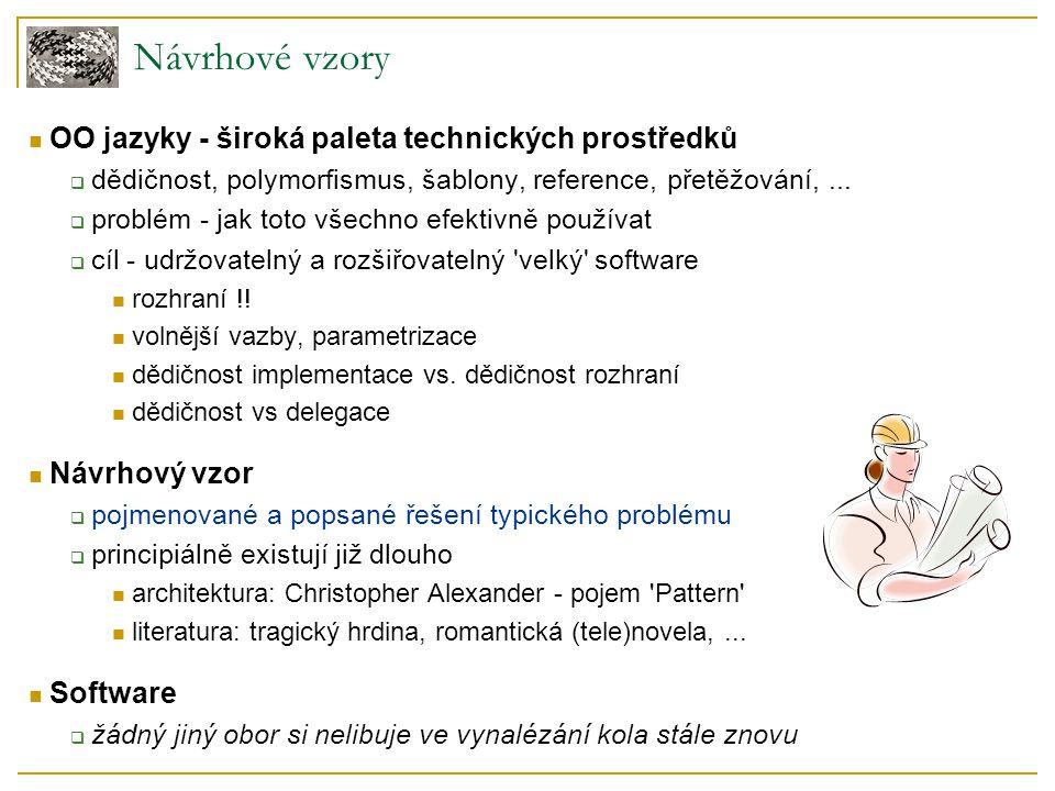 Návrhové vzory OO jazyky - široká paleta technických prostředků