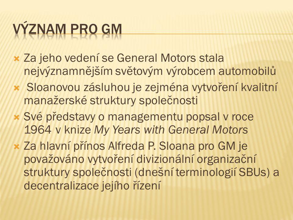 Význam pro gm Za jeho vedení se General Motors stala nejvýznamnějším světovým výrobcem automobilů.
