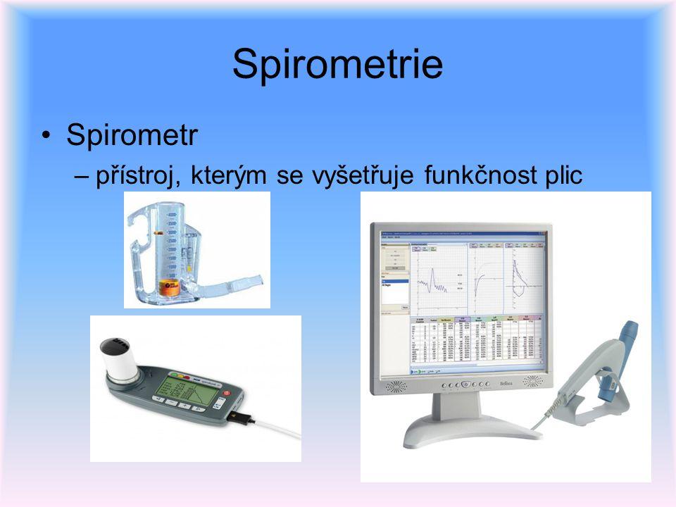 Spirometrie Spirometr přístroj, kterým se vyšetřuje funkčnost plic