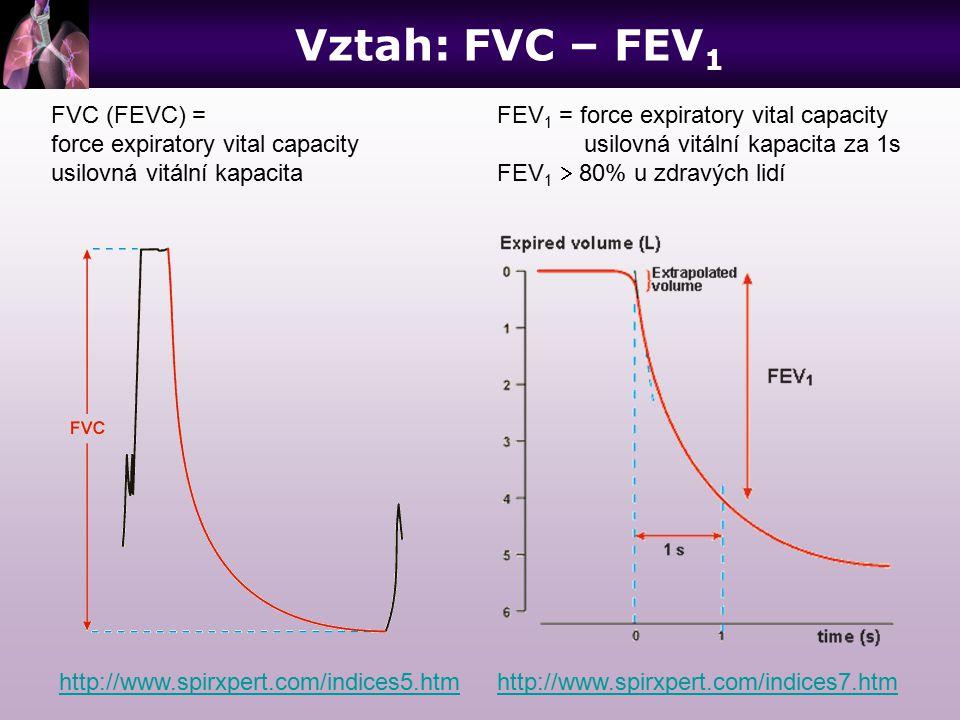 Vztah: FVC – FEV1 FVC (FEVC) = force expiratory vital capacity
