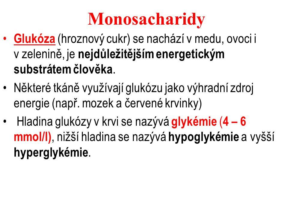 Monosacharidy Glukóza (hroznový cukr) se nachází v medu, ovoci i v zelenině, je nejdůležitějším energetickým substrátem člověka.