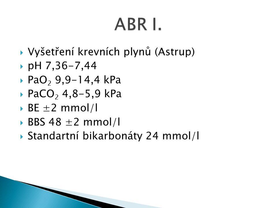 ABR I. Vyšetření krevních plynů (Astrup) pH 7,36-7,44