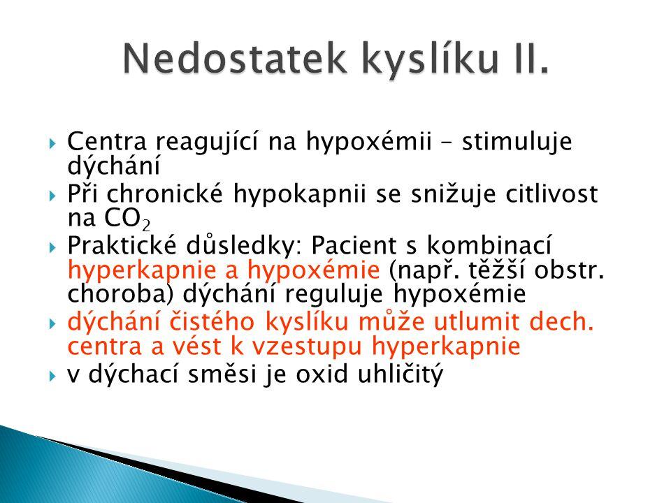 Nedostatek kyslíku II. Centra reagující na hypoxémii – stimuluje dýchání. Při chronické hypokapnii se snižuje citlivost na CO2.