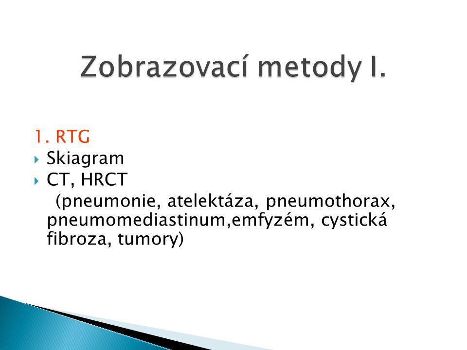 Zobrazovací metody I. 1. RTG Skiagram CT, HRCT