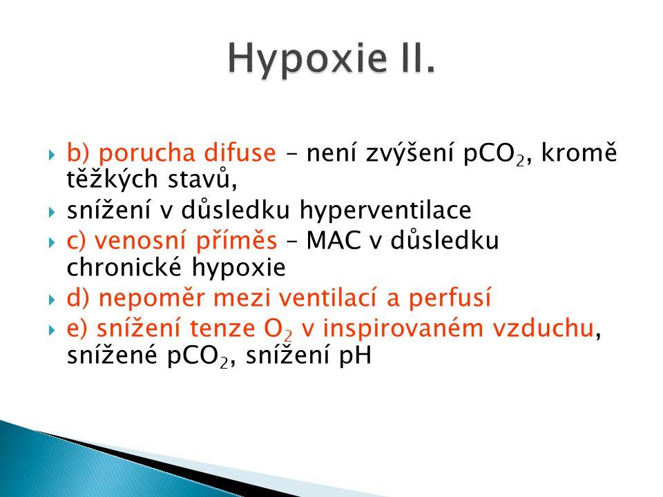 Hypoxie II. b) porucha difuse – není zvýšení pCO2, kromě těžkých stavů, snížení v důsledku hyperventilace.
