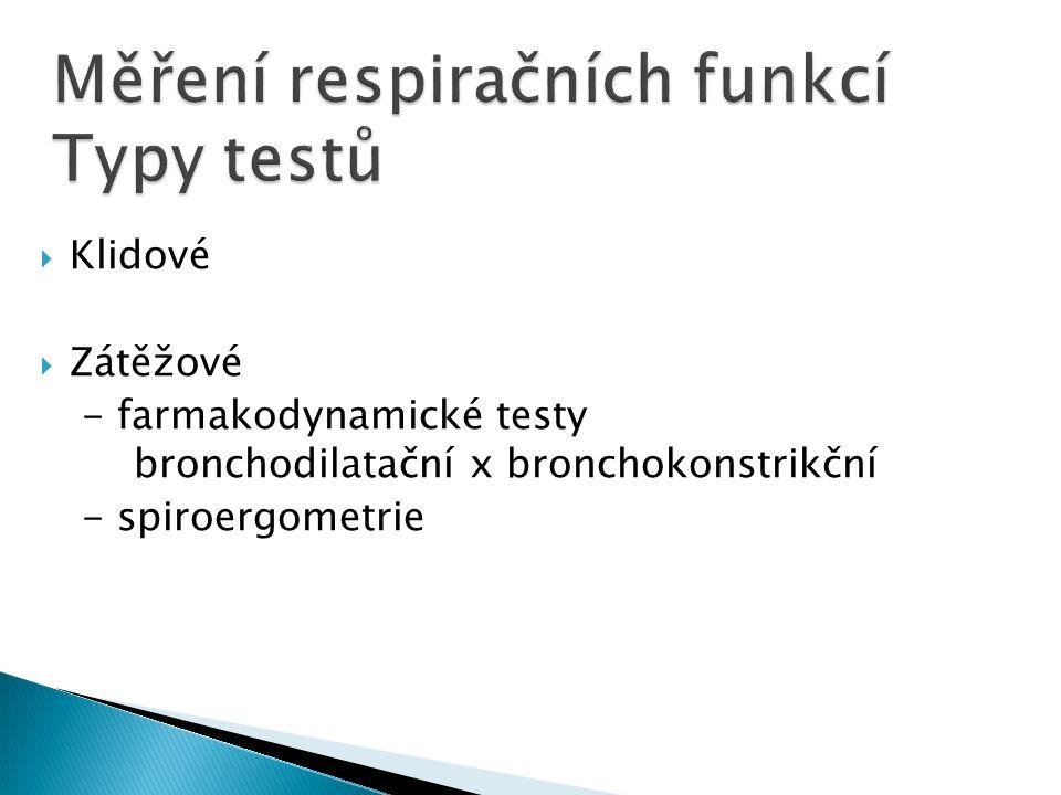 Měření respiračních funkcí Typy testů