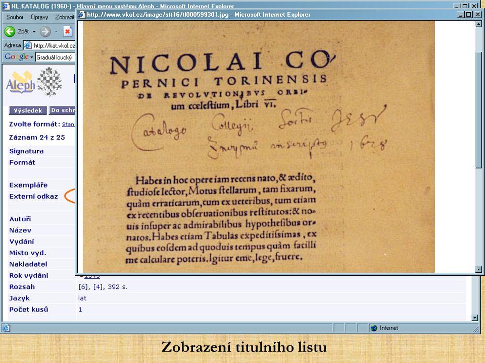 Zobrazení titulního listu