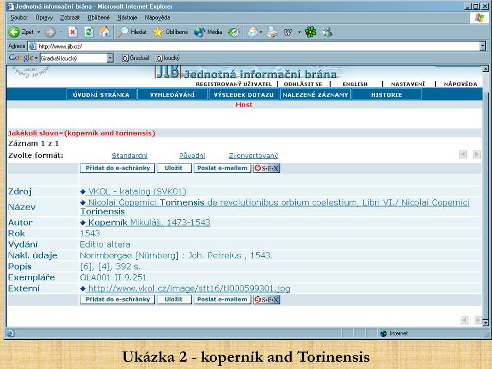 Ukázka 2 - koperník and Torinensis