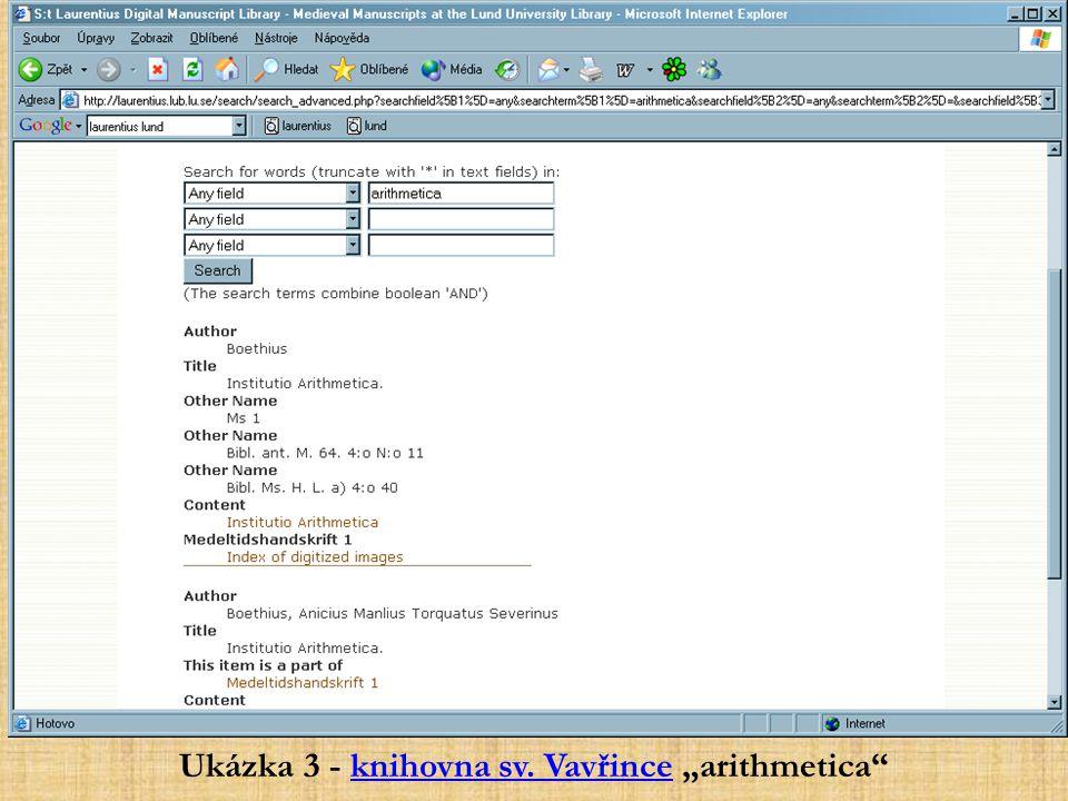 """Ukázka 3 - knihovna sv. Vavřince """"arithmetica"""
