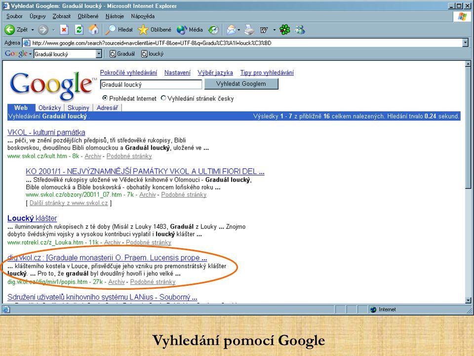 Vyhledání pomocí Google