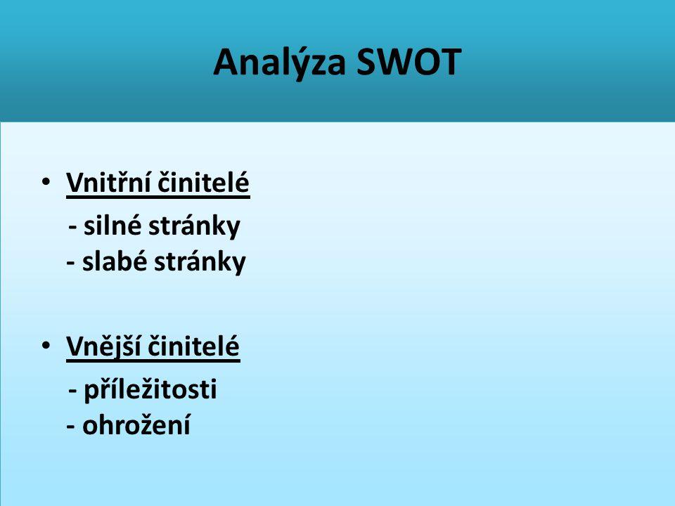 Analýza SWOT Vnitřní činitelé - silné stránky - slabé stránky