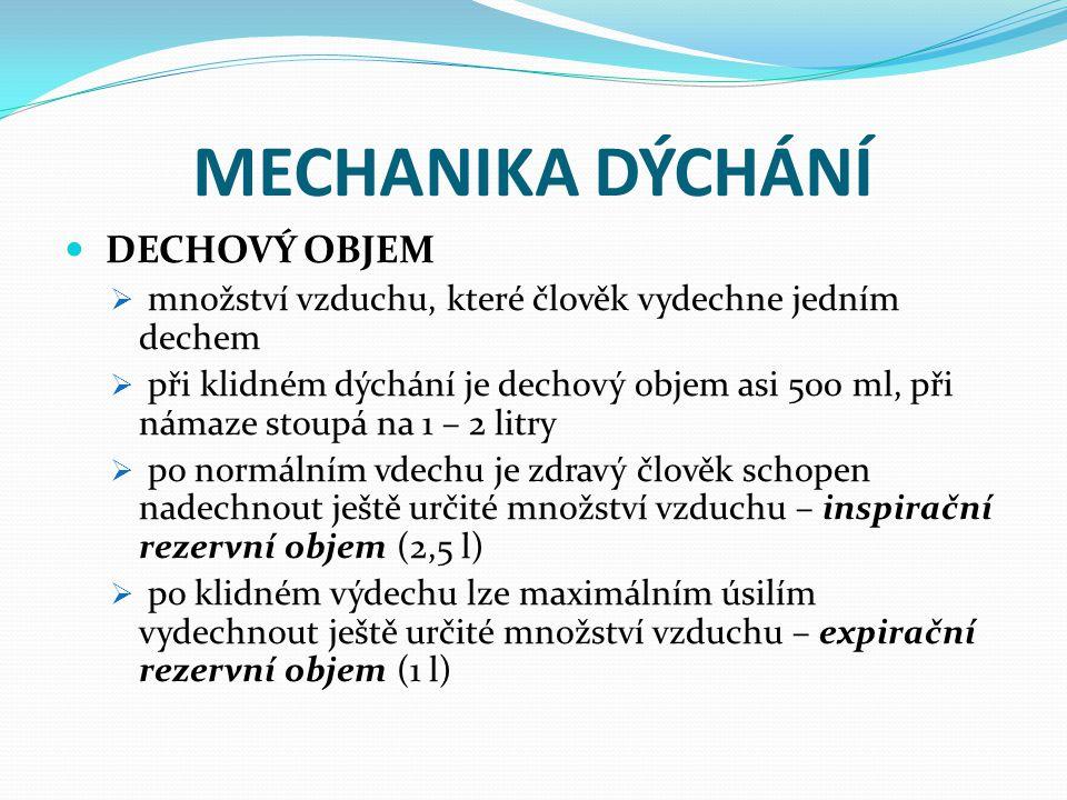 MECHANIKA DÝCHÁNÍ DECHOVÝ OBJEM