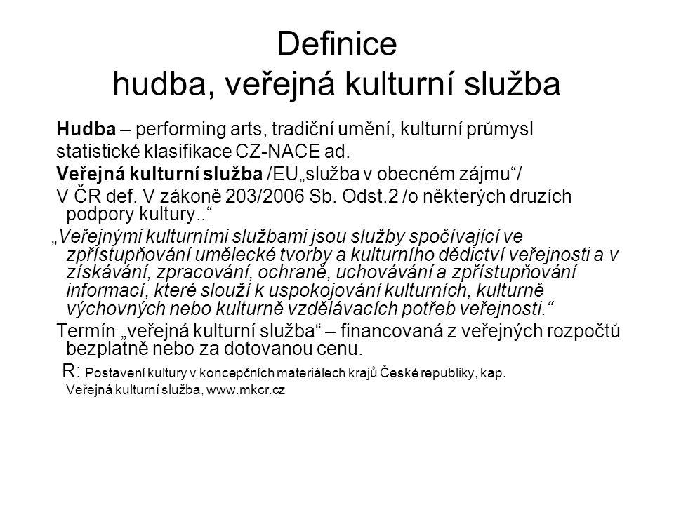 Definice hudba, veřejná kulturní služba