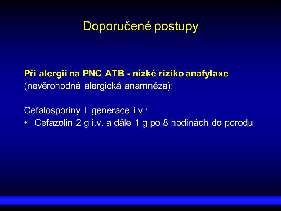 Doporučené postupy Při alergii na PNC ATB - nízké riziko anafylaxe