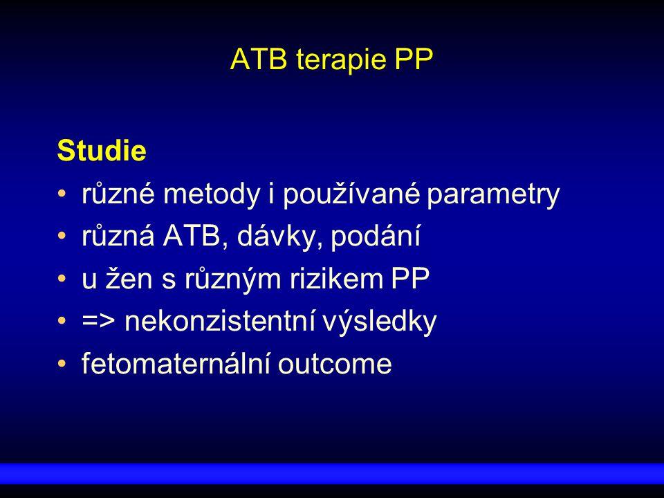 ATB terapie PP Studie. různé metody i používané parametry. různá ATB, dávky, podání. u žen s různým rizikem PP.