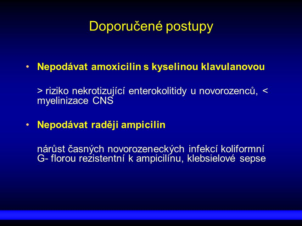 Doporučené postupy Nepodávat amoxicilin s kyselinou klavulanovou