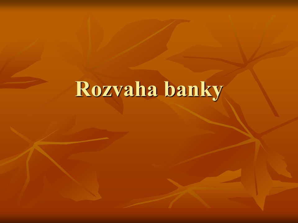 Rozvaha banky
