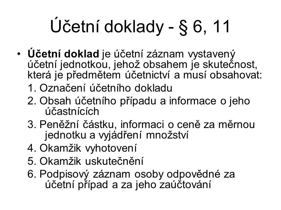 Účetní doklady - § 6, 11
