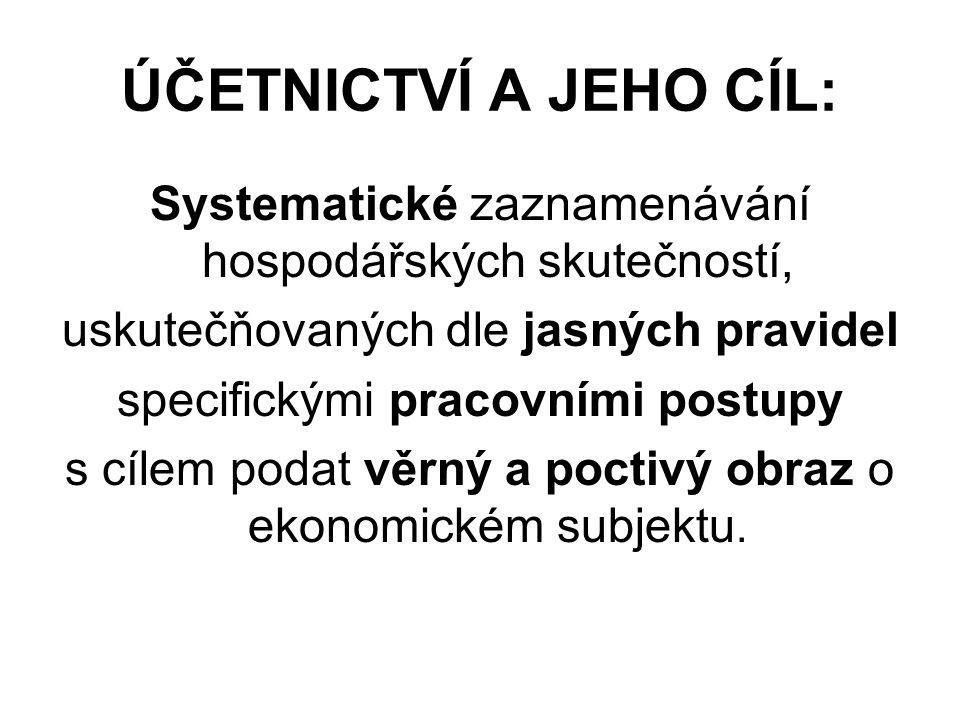 ÚČETNICTVÍ A JEHO CÍL: Systematické zaznamenávání hospodářských skutečností, uskutečňovaných dle jasných pravidel.