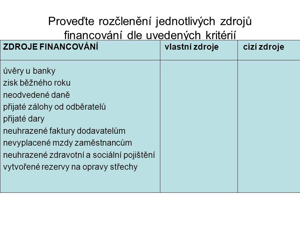 Proveďte rozčlenění jednotlivých zdrojů financování dle uvedených kritérií