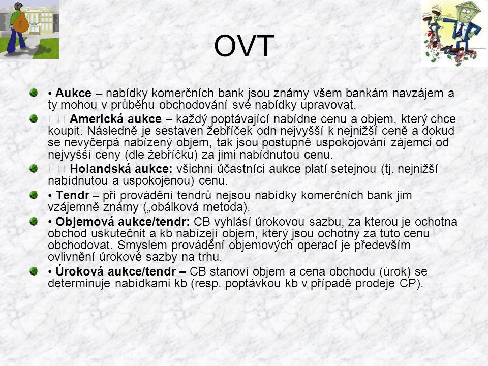 OVT • Aukce – nabídky komerčních bank jsou známy všem bankám navzájem a ty mohou v průběhu obchodování své nabídky upravovat.
