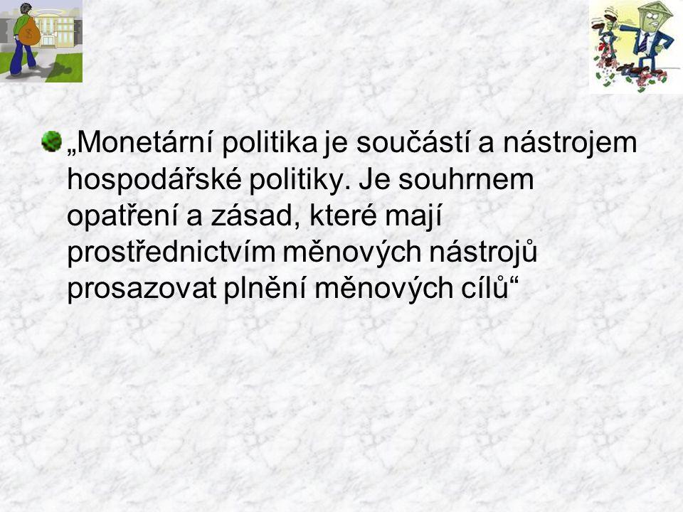 """""""Monetární politika je součástí a nástrojem hospodářské politiky"""