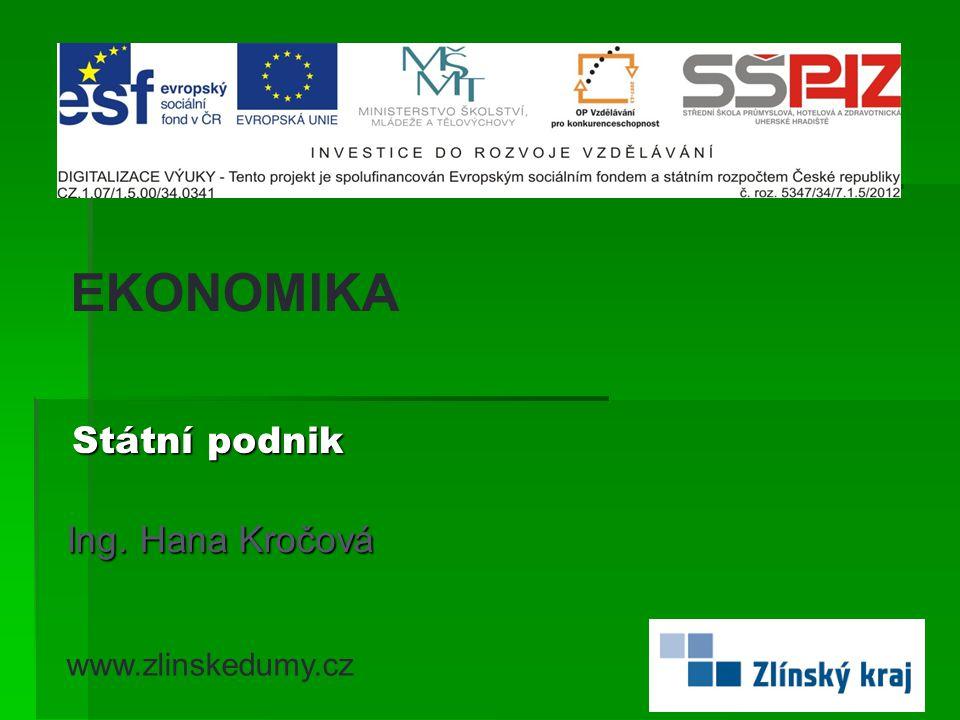 EKONOMIKA Státní podnik Ing. Hana Kročová www.zlinskedumy.cz