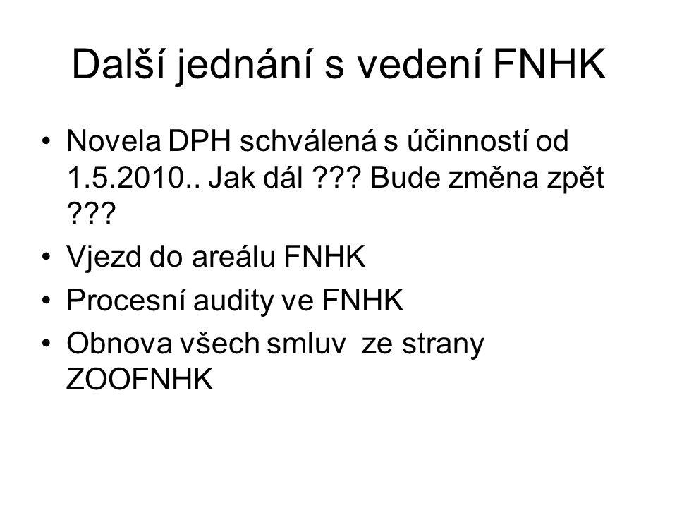 Další jednání s vedení FNHK