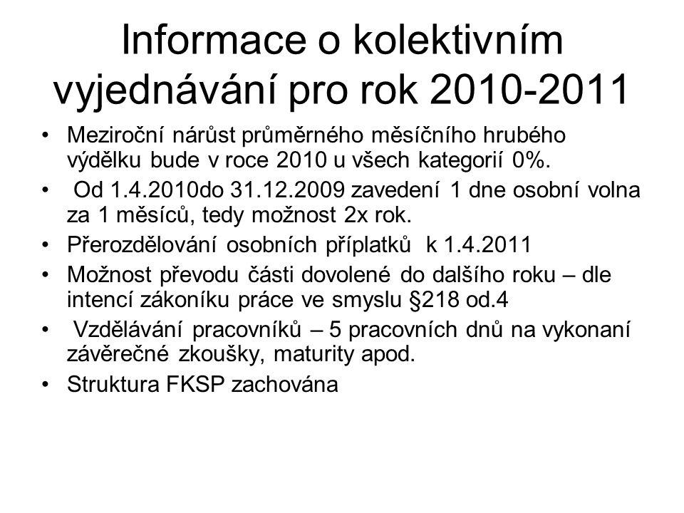 Informace o kolektivním vyjednávání pro rok 2010-2011