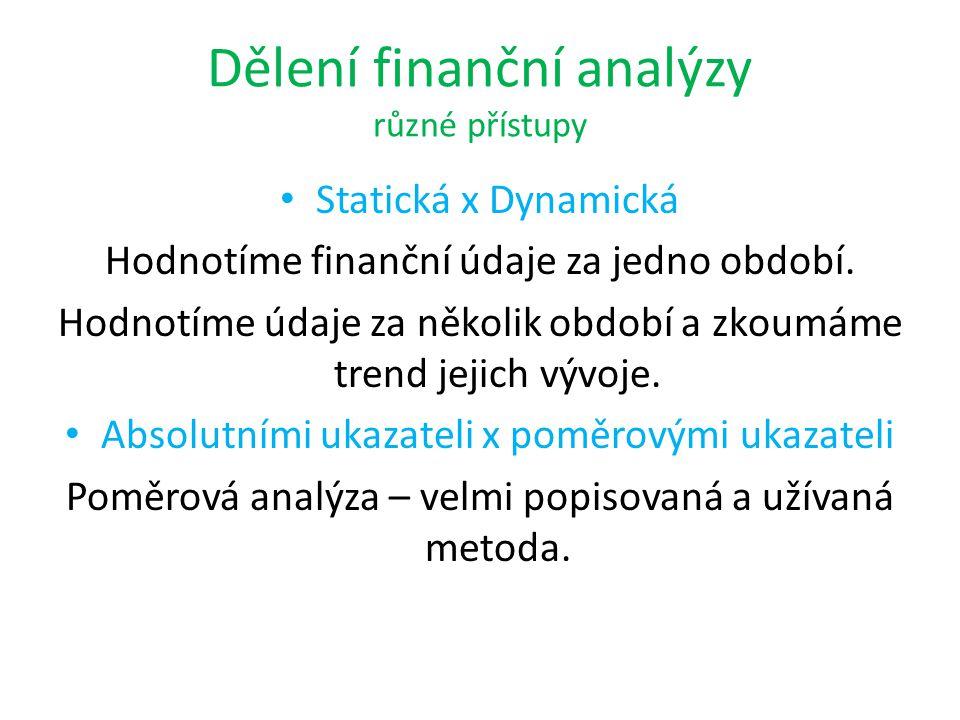 Dělení finanční analýzy různé přístupy