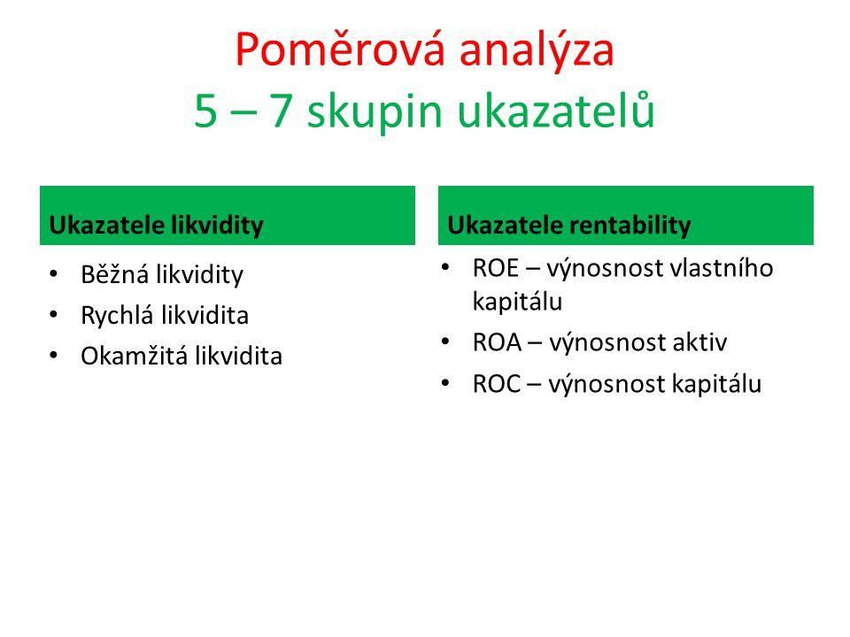 Poměrová analýza 5 – 7 skupin ukazatelů
