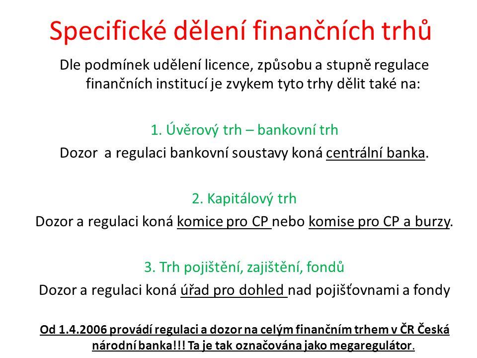 Specifické dělení finančních trhů