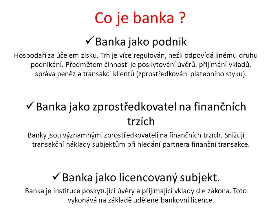 Co je banka Banka jako podnik
