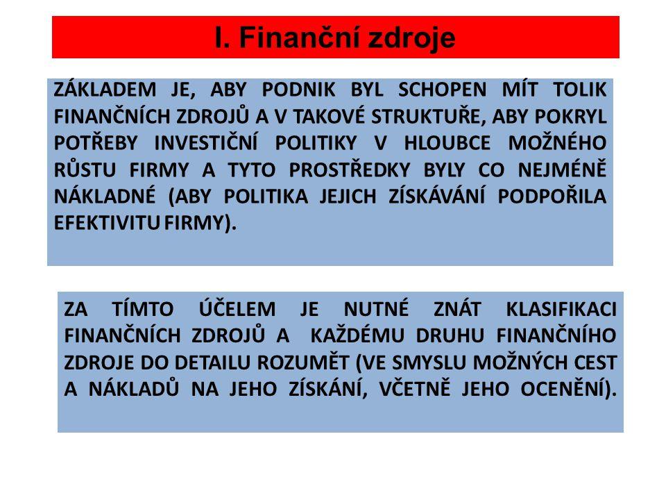 I. Finanční zdroje